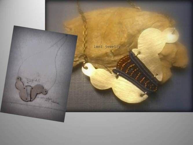 Macrame and metal alpaca necklace.