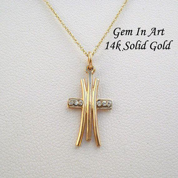 Solid Gold Cross necklaceDainty gold cross pendantsimple