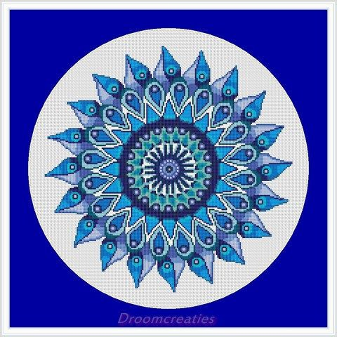 Mandala Teardrops aqua blue counted crossstitch embroidery pattern by Droomcreaties on Etsy
