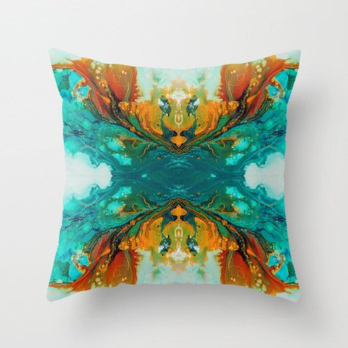 Abstract Pillow Cover. Main colors are teal, turquoise, aqua and orange. Also available in outdoor fabric. See drop down menu for available options. …