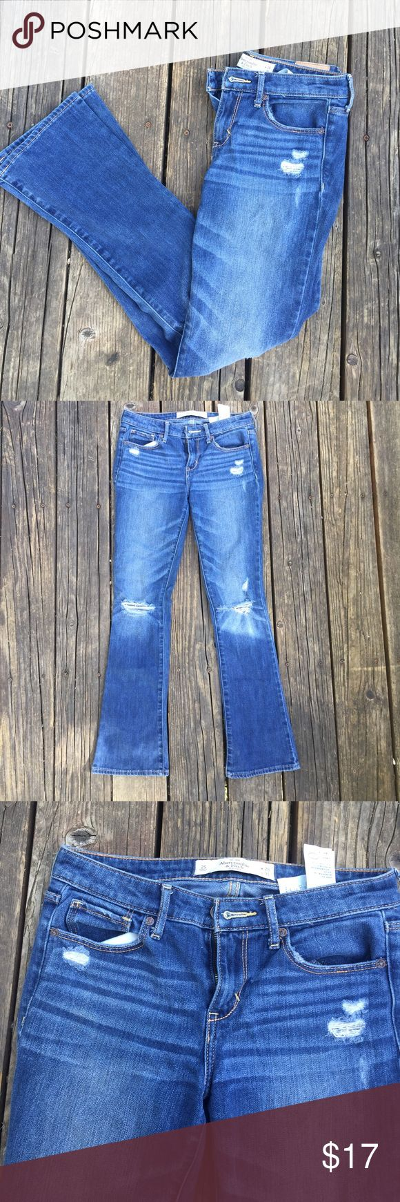 Abercrombie and Fitch jeans Abercrombie and Fitch skinny boot jeans with holes. Super cute and good condition! Only worn a couple times ❤️ Abercrombie & Fitch Jeans