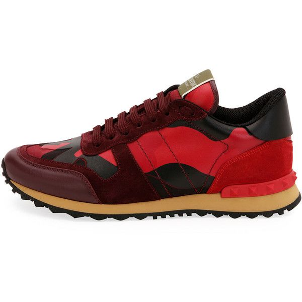Valentino Men's Rockrunner Camo Leather Sneaker ($795) ❤ liked on Polyvore featuring men's fashion, men's shoes, men's sneakers, mens camo sneakers, mens leather sneakers, valentino mens sneakers, mens camo shoes and mens sneakers