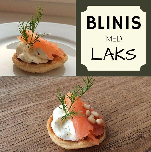Lækre små blinis med laks og en herlig flødeostecreme smagt til med dild og citron.