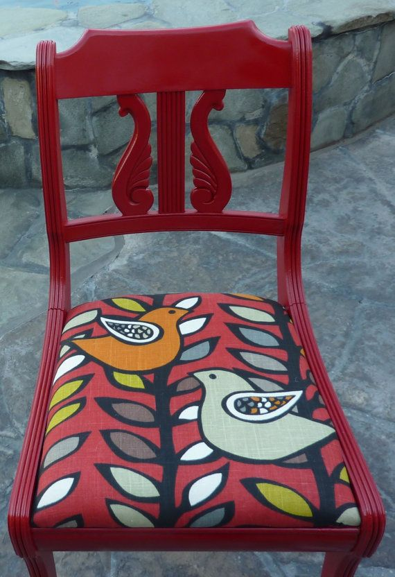 red retro chairs. Vintage Upcycled Red Painted Chair With Retro Bird Covering Chairs