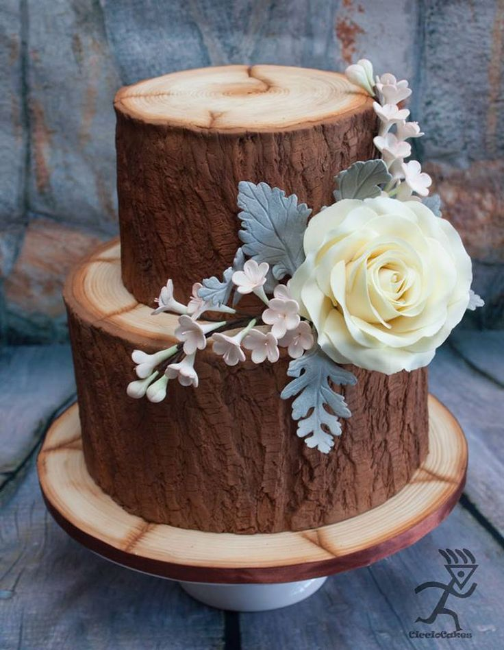 2 tiered wood effect cake with sugar Rose, Sugar blossoms & Sugar Dusty Miller Leaves