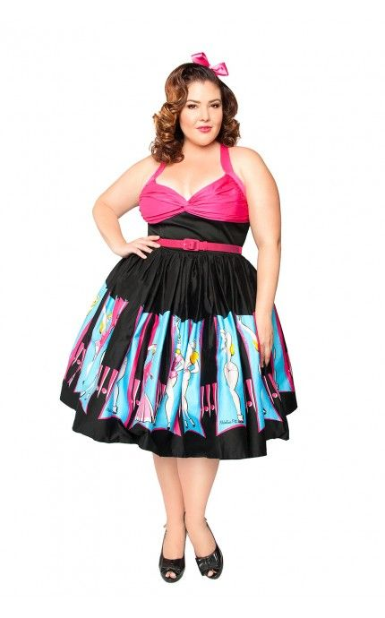 Pinup Couture- Lydia Dress in Burlesque Performer Print - Plus Size | Pinup Girl Clothing