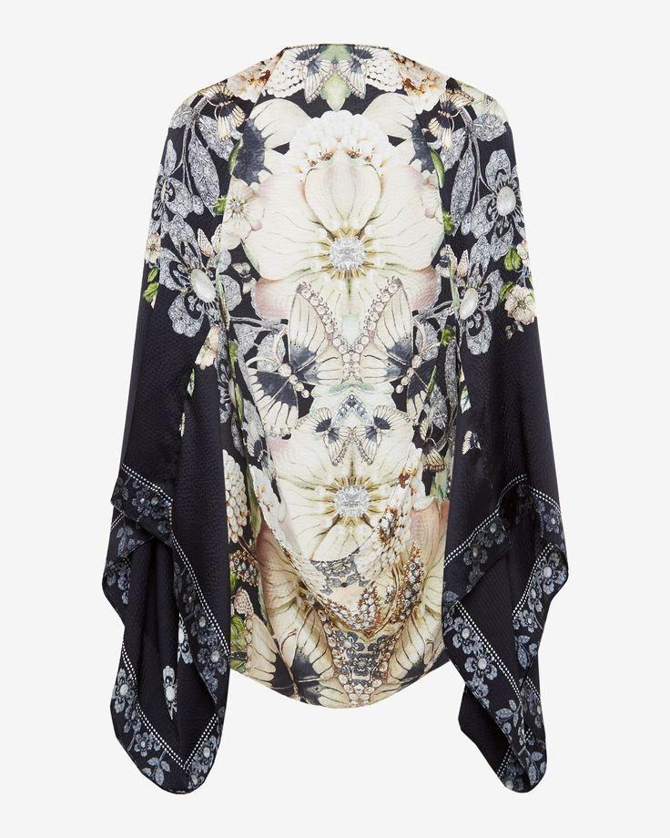 Gem Gardens silk caped scarf - Black | Scarves | Ted Baker