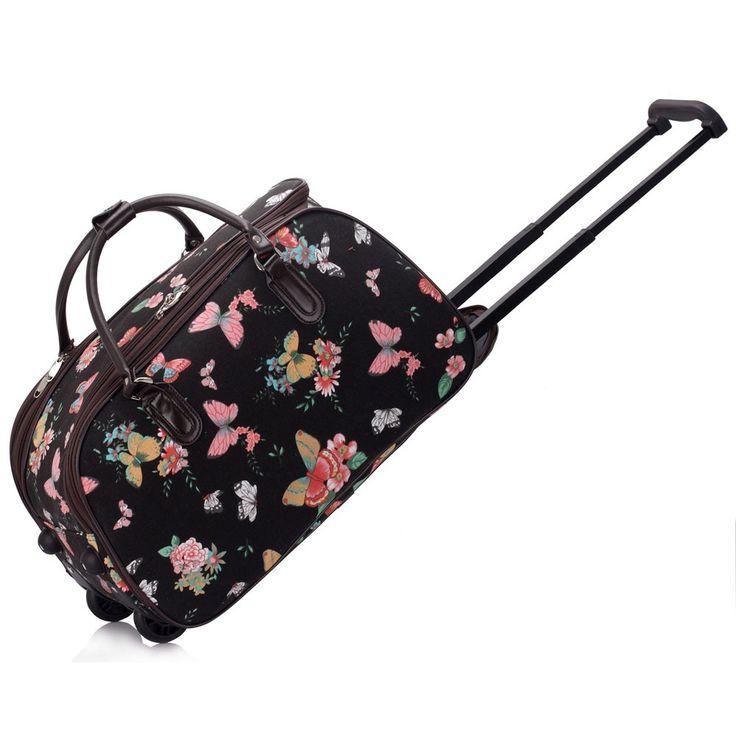 Barva černá s motýlky, velikost na obrázku, jmenovka, zapinání na zip, hezký design. Lze využít jako příruční zavazadlo v letadle.