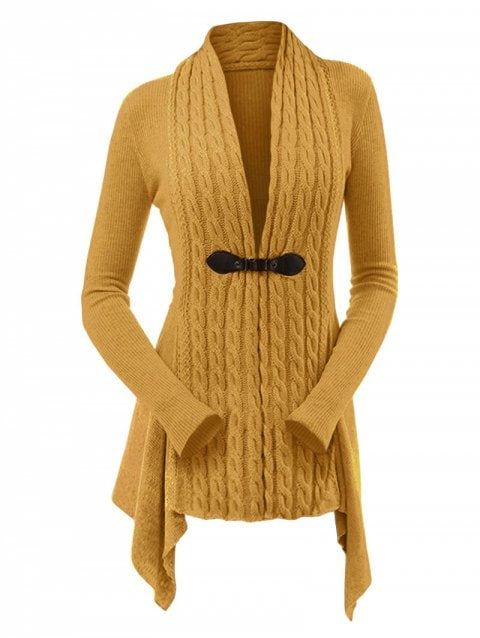 c6f52ecb2ee Cable Knit Buckle Asymmetrical Cardigan - BEE YELLOW M