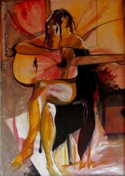 Huber Vilmos - Lány gitárral_The Guitarplayer című festménye 113x87cm olaj, panel