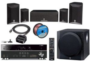 Yamaha Advanced CINEMA DSP 3D Ready Home Theater System with 5.1-channel 525 Watt AV Receiver + iPod & iPhone Dock + 2 Front Shelf Speakers + 2 Surround Satellite Speakers + 1 Center Channel Speaker + 1 Advanced YST II Front Firing 100W Powered 10″ Active Subwoofer (Speaker Wire Included)