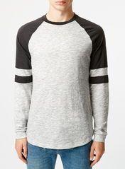 Frost And Washed Black Slubby Longsleeve Raglan T-Shirt
