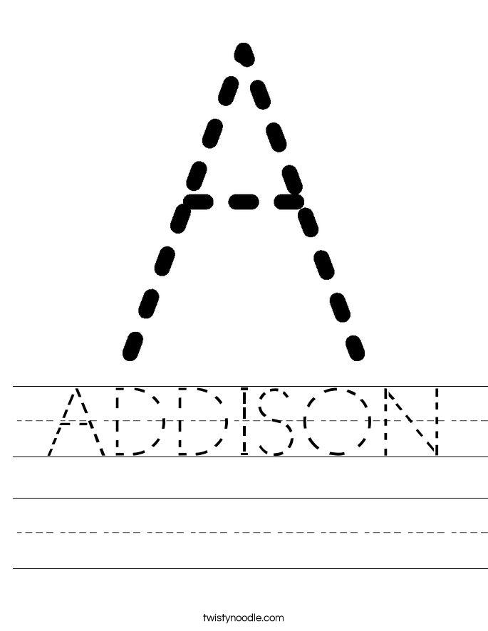 ADDISON Worksheet - Twisty Noodle | Worksheets ...
