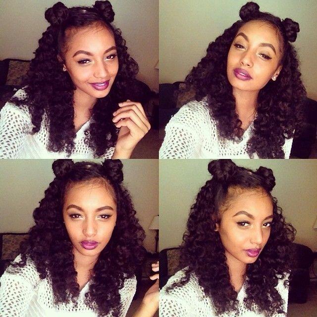 half up half down black hairstyles : Half buns half down H a i r. Pinterest Buns, Natural and ...