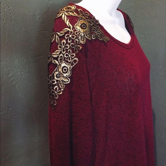 Red & Gold Long Sleeve Top Beautiful Red & Gold Long sleeve top! Never worn. Bought off poshmark and it was too big for me. Charlotte Russe Tops