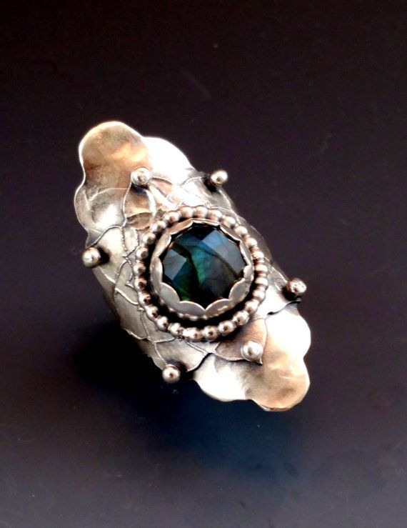 Unique Handmade Silver Jewelry, Sterling Silver Statement Ring, Silver rings, Labradorite Jewelry, Saddle Ring, Bohemian Jewelry