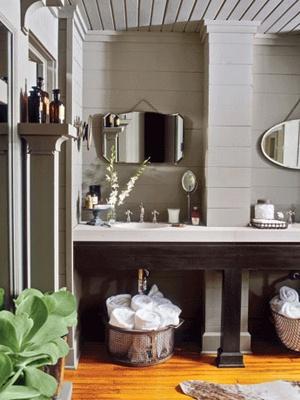 "Beautiful bathroom. Love the ""hidden"" storage."