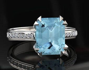 Corte de la aguamarina anillo de compromiso por ChicJoaillerie