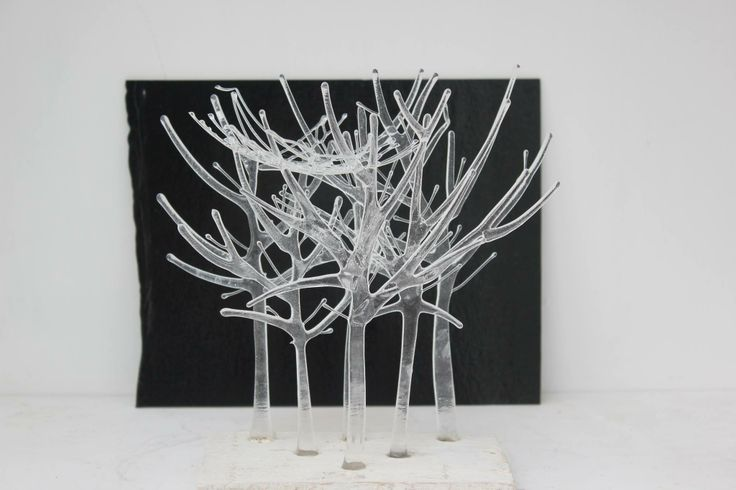 """In The Woods""  glass trees and birds nest - Helen Dyne"