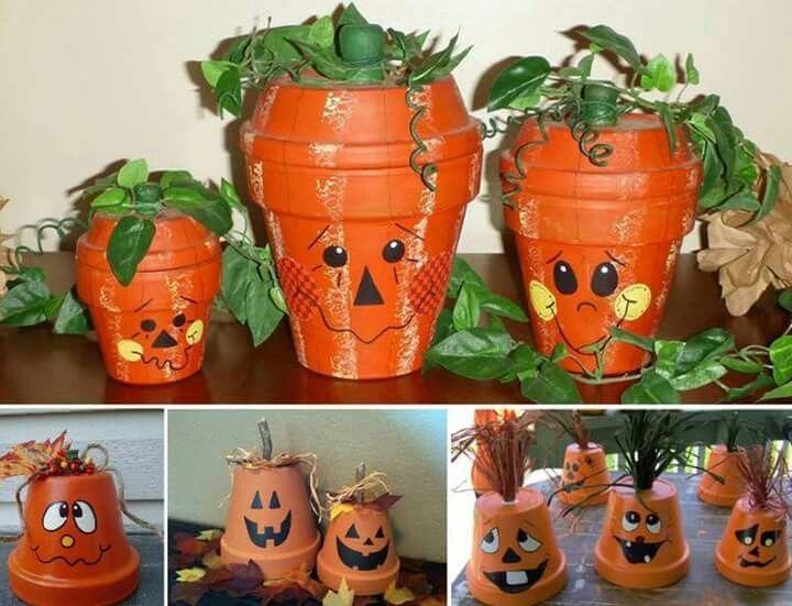 Terracotta jack-o-lanterns! Super cute and easy!!