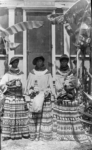 Miccosukee sisters with their crafts outside the mission by State Library and Archives of Florida, via Flickr