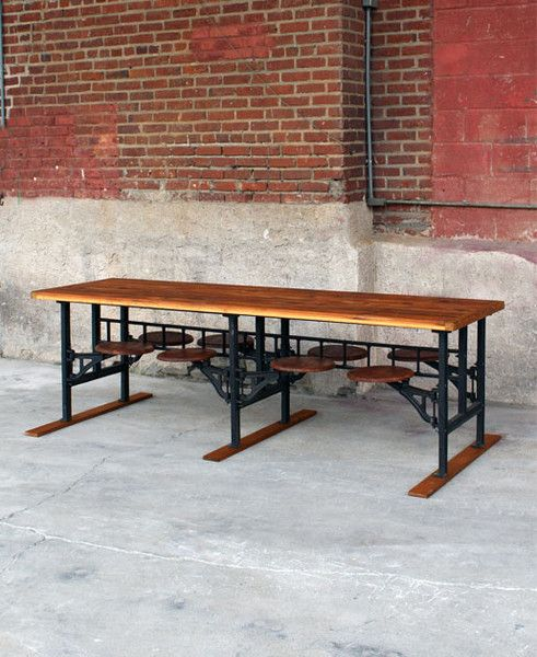 cafeteria table | swivel seating | shared work/workshop space