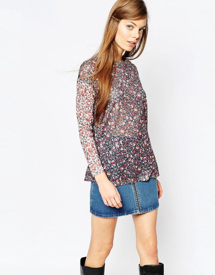 ASOS+Ditsy+Swing+Top+With+Contrast+Sleeves