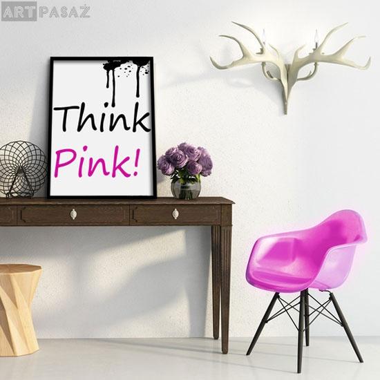 """""""think pink"""" - plakat oprawiony w ramę"""