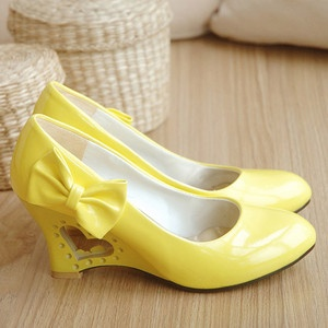 Women's Fashion PU Leather Wedge High Heel Pumps Bowknot Shoes US All Size D53 | eBay