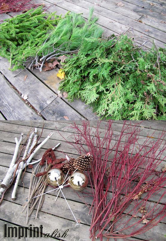 "Around the House-Outdoor Christmas Urns  ""hiking tomorrow for goodies to make my own"" :D"