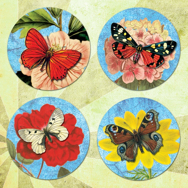 Butterflies Vintage Illustration: 1In Circles, Collage Sheet, Vintage Illustrations, Butterflies Vintage, Vintage Butterflies, 1 5In Circles, Blossoms 1 5In, Blossoms Collage, 15In Circles
