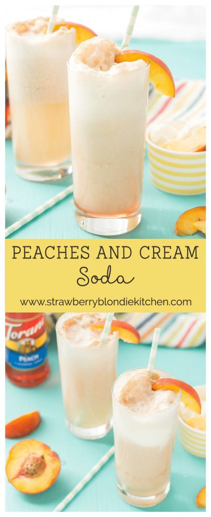 With 4 ingredients, your only 5 minutes away from a fun and delicious Peaches and Cream Soda. Peach syrup, cream, ice cream and club soda make thisPeaches and Cream Soda delightful and the perfect summer sipper! #MyToraniSummer AD @ToraniFlavor @walmart | Strawberry Blondie Kitchen