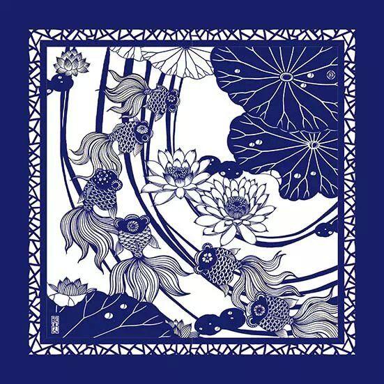 鲜艳的传统艺术彩色剪纸作品
