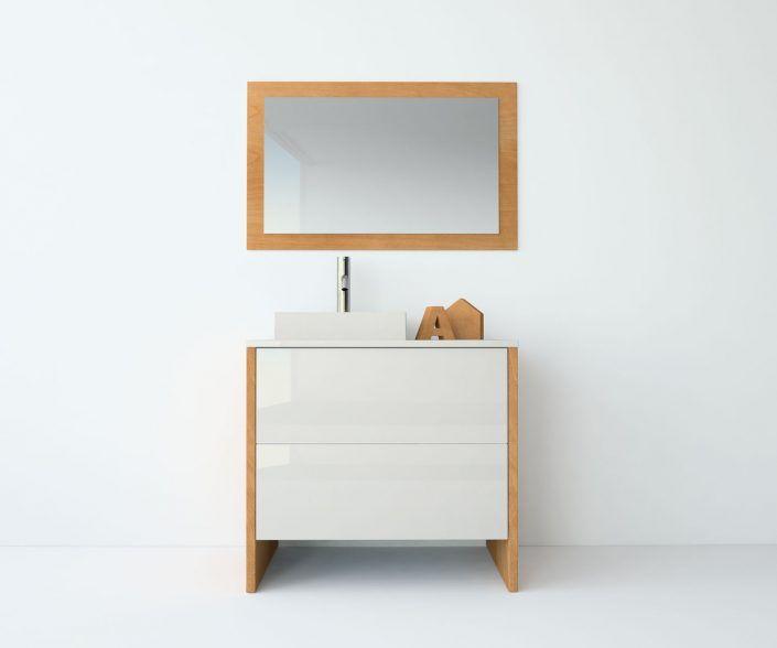 Muebles de baño a medida. Ejemplo de acabados en madera natural, laminados, lacas brillo o mate, etc.  unibaño-compactos-acabados-12