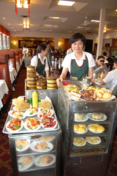 Dim sum - A variation occurs in a Dim sum house, where the patrons make their selections from a wheeled trolley containing the different plates of food that circulate through the restaurant