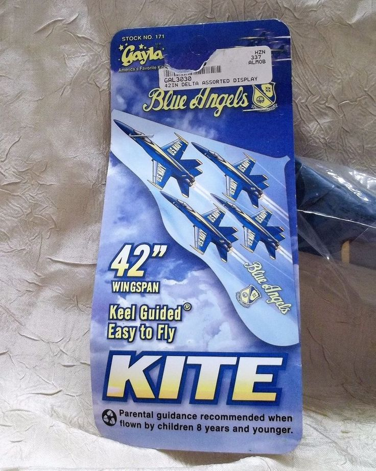 """United States Navy Blue Angels 42"""" Wingspan Plastic Kite Keel Guided Easy To Fly"""