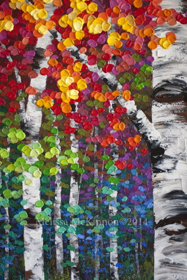 """""""Kaleidoscope Trees"""" MELISSA MCKINNON Contemporary Abstract Landscape Artist features BIG COLOURFUL PAINTINGS of Aspen & Birch Trees, Rocky Mountains and stunning views of the Canadian prairies, big skies and ocean beaches. Western Art. (Detail Image of tree trunks, autumn leaves and impasto paint texture):"""