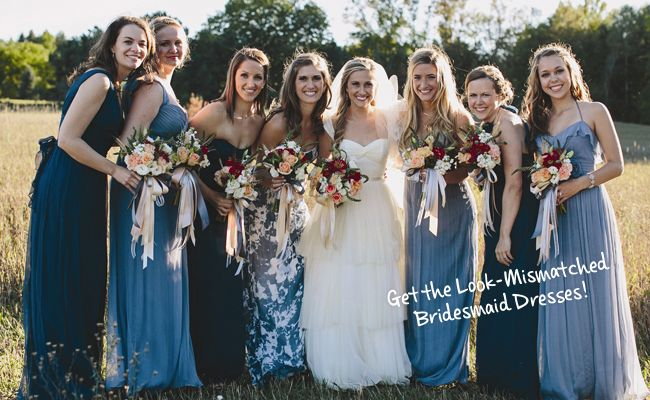 Mismatched Bridesmaid Dresses Are the New Way to Make Your Bridesmaids Stand Out | Photo by:  E.C. Campbell Photography | TheKnot.com