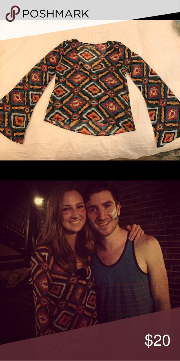 Show Me Your Mumu Aztec Long Sleeve Top Rare Mumu! Unlined, but looks great with a black tank or bralette underneath! I also liked to pair this piece with some mid-rise jeans. Nicholas Petricca from Walk The Moon not included 😜 Show Me Your MuMu Tops