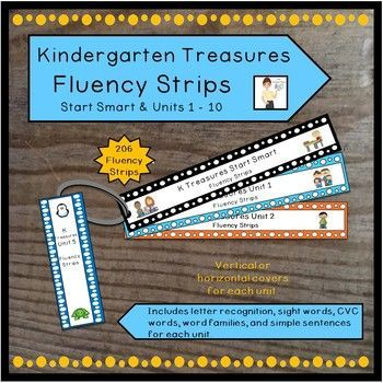 The 206 fluency strips in this product are created to be a companion product with the 2011 Treasures reading series for Kindergarten. The fluency strips in black are upper and lowercase letters which can be used at the beginning of the year or throughout the year