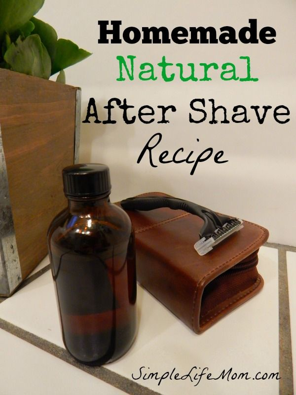 Homemade Natural After Shave Recipe with aloe, witch hazel, and essential oils to soothe and calm skin by Simple Life Mom