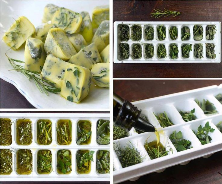 Choose fresh herbs.  Chop well or leave whole. Place on trays of ice cubes (about 2/3 full of herbs). Mix herbs (sage, thyme, rosemary). Place extra virgin olive oil or unsalted melted butter over the herbs. Cover with plastic and freeze. Frozen cubes are stored in Ziplock bags. Label each bag with the type of herbs and oil inside!