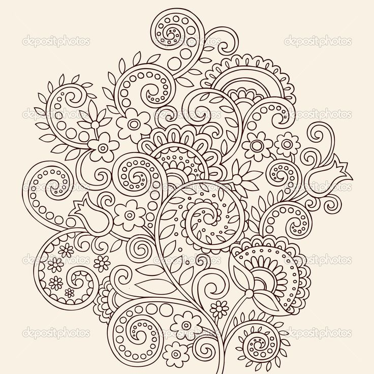 Henna Mehndi Paisley Flowers and Vines Doodle Vector — Imagens vectoriais em stock #8248640