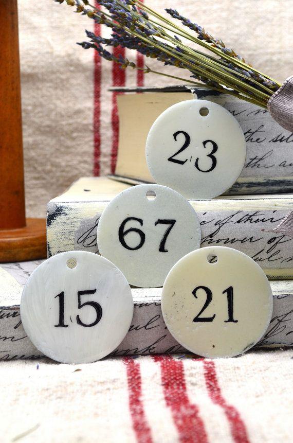 Small Round Enamel Vintage Look Metal Number Tags by AupetitMarket, $10.00