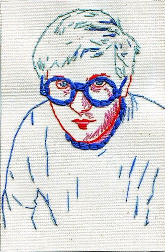 Hand embroidered portrait of David Hockney