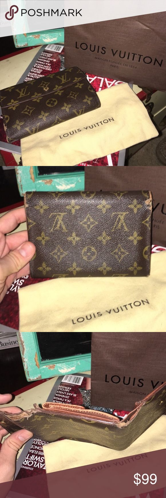 Porte tressor wallet Authentic. Worn but has plenty of life left. Stitching is coming apart on sides. Still a gorgeous traditional Louis Vuitton wallet that needs a new home. Wallet only Louis Vuitton Accessories