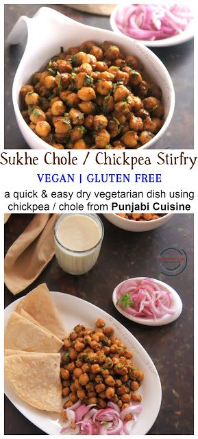 Punjabi Sukhe Chole / Chickpea Stir-fry is a quick and easy dry vegetarian dish using chickpea / chole from Punjabi Cuis…