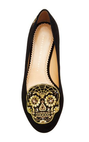 Day Of The Dead Embroidered Suede Loafers in Black by Charlotte Olympia - Moda Operandi, We could celebrate day of the dead every day if it meant wearing these flats, Check them out on Keep!