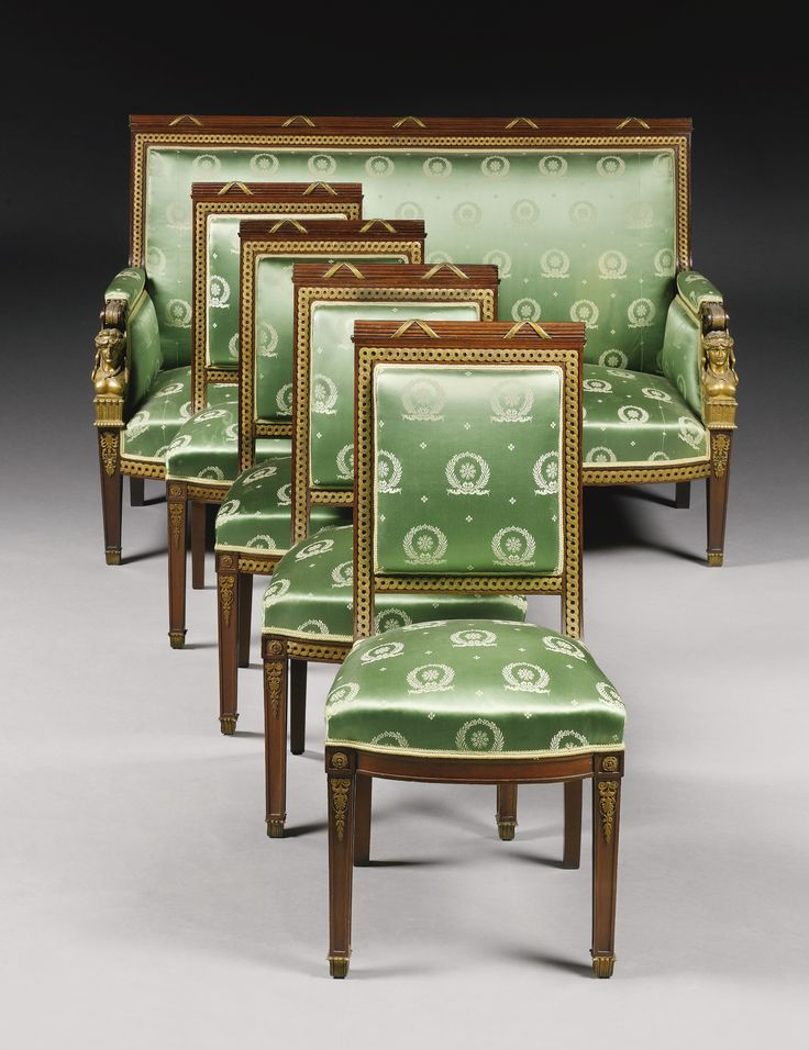 An Empire style polished bronze and mahogany seven piece salon suite, Paris, late 19th century, in the manner of Jacob-Desmalter   Lot   Sotheby's