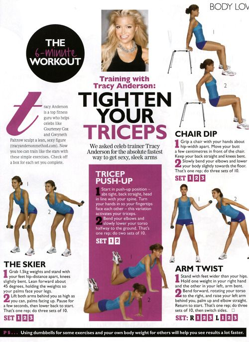 Time: 5 minutes Areas worked: Arms Equipment needed: 2X 1lb weights and a chair As you can see from above this workout was presented in two different layouts, I personally find the first page easie...